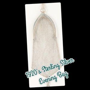 Handbags - 1920's Victorian Sterling Silver Mesh Handbag